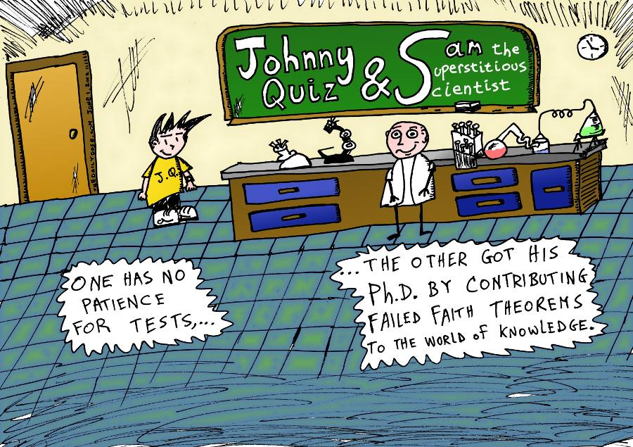 new cartoon sharring johnny quiz and sam the superstitious scientist