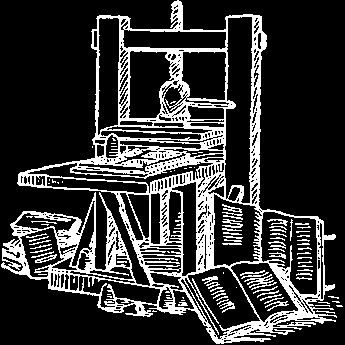 illustration of an old gutenberg style printing press