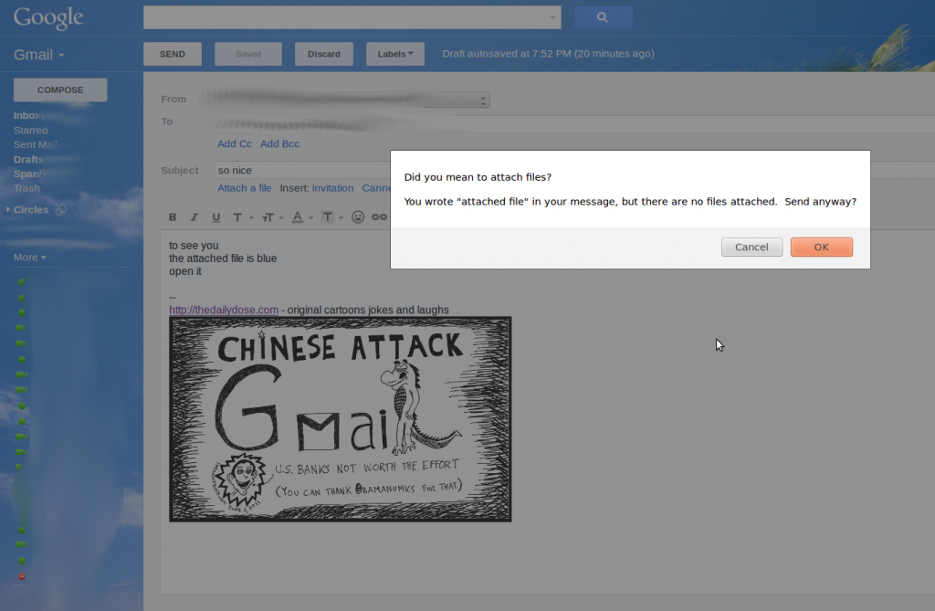 google gmail file attached checker feature